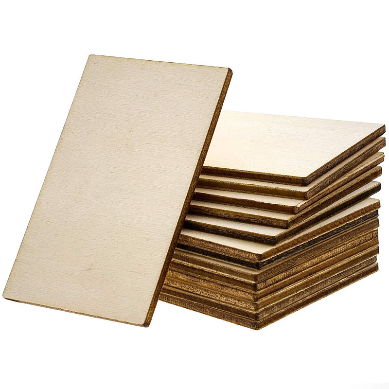 Bright Creations 60-Pack Unfinished Wood Rectangle Cutouts for DIY Crafts, 2 x 3 Inches