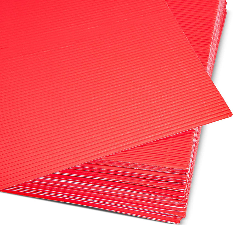 48x Corrugated Cardboard Sheets Paper for DIY Crafts Party Décor Red 8.5 x 11""