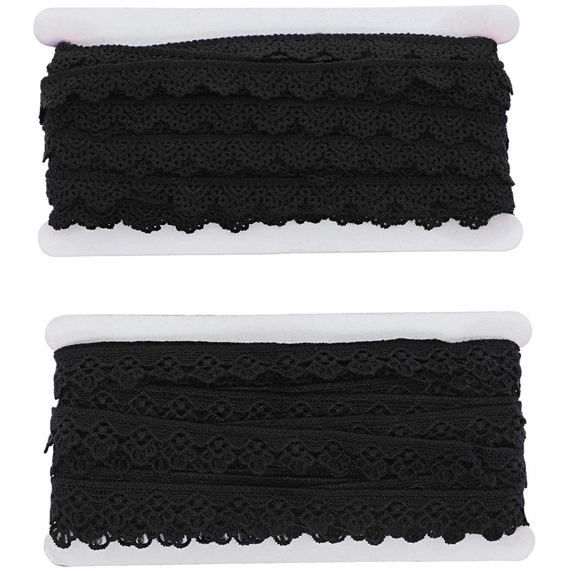 "2 Pack Bright Creations Crochet Lace Ribbon Trim, 0.5""/0.7"" x 15 yards, Black"
