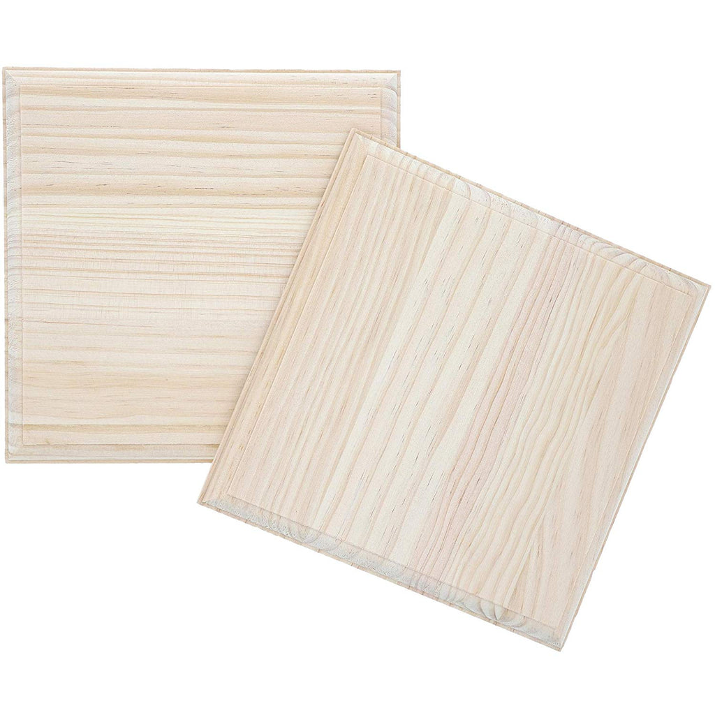 Wood Cutout for Crafts, Wooden Square (7 In, 2 Pack)