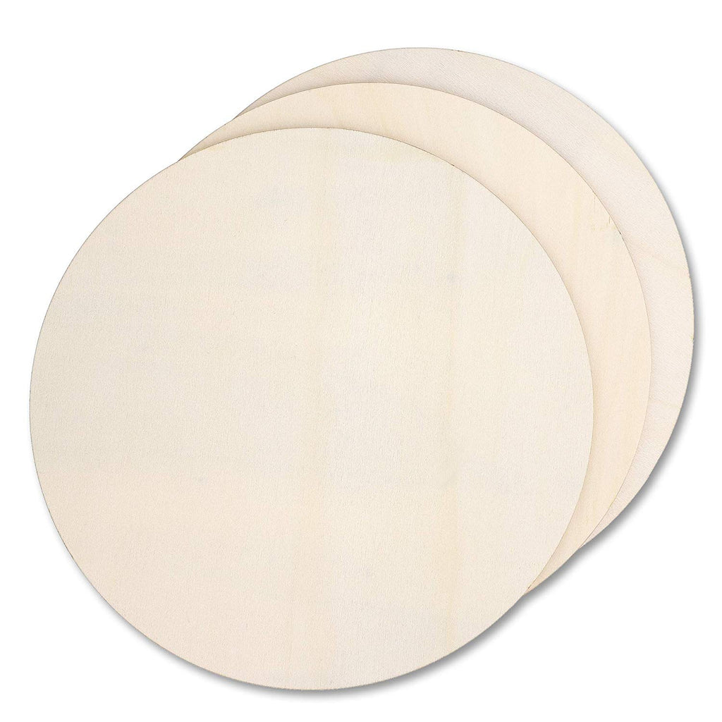 3-Pack Unfinished Wood Circle Cutouts for DIY Crafts, 12 Inches Diameter