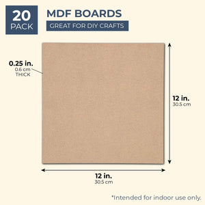 Square MDF Board, 12 Inches (20 Pack)