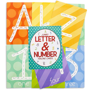 Juvale 36-Pack Kids Jumbo Dry Erase Alphabet Letters and Numbers Tracing Cards, 7 x 9 Inches