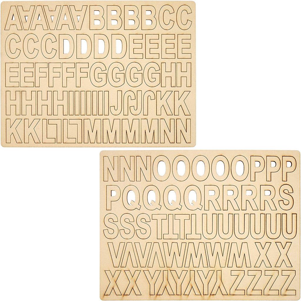 "120 MDF Wood Alphabet A-Z Letters for DIY Crafts Home Decor, 15.5"" x2""x 11.6"""
