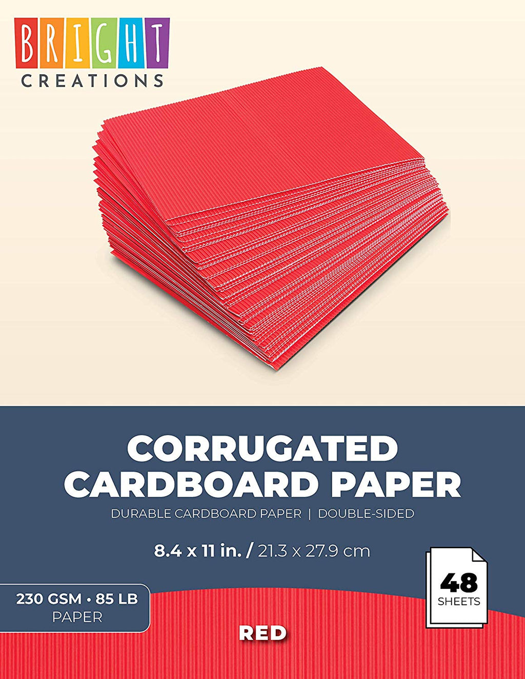 48 Pack Corrugated Cardboard Sheets - Corrugated Paper Red 8.5 x 11 inches
