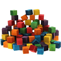 Square Colored Wood Craft Cube Blocks (100 Count)