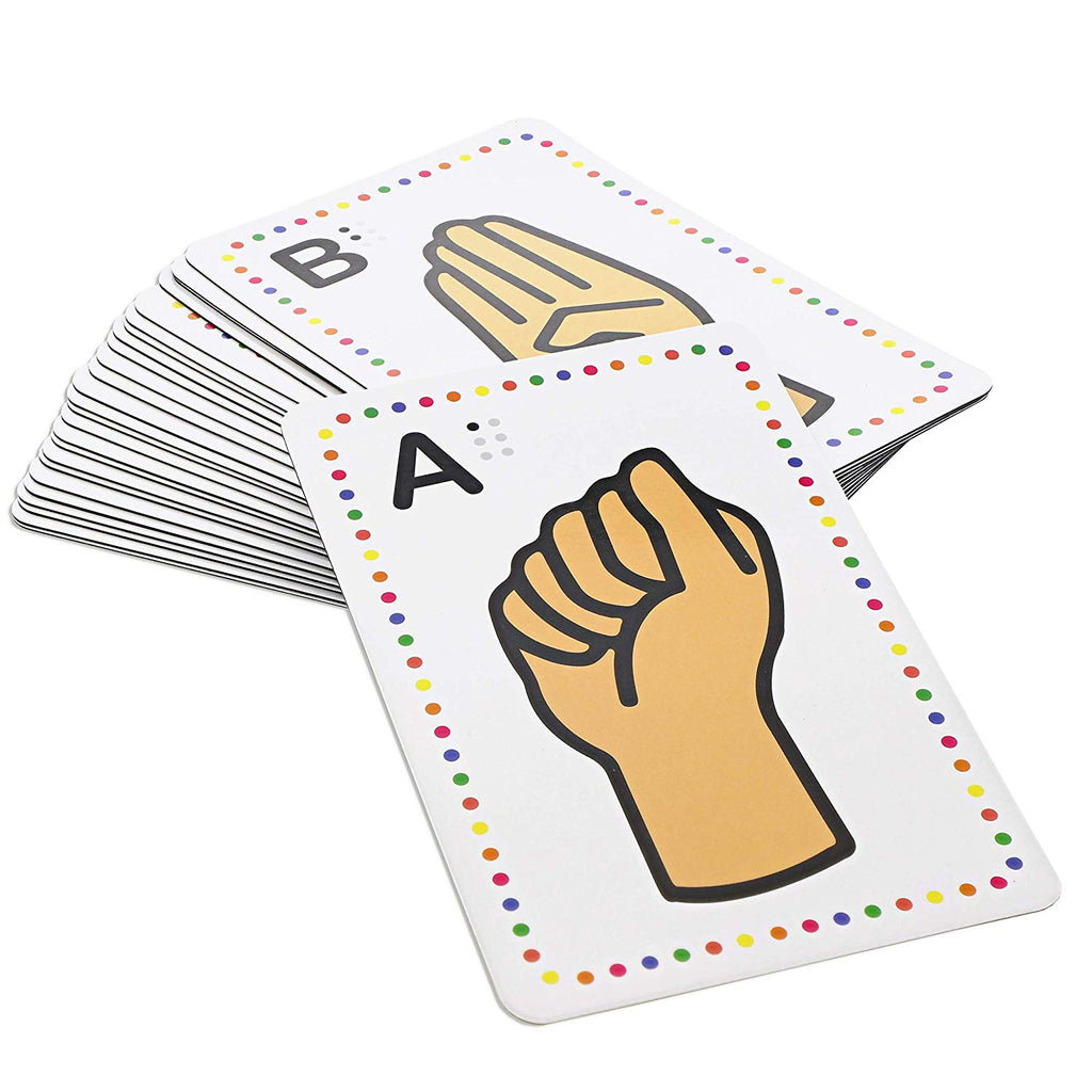 Set of 26 Magnetic Sign Language Alphabet Flash Cards with Gestures 5.6 x 3.6 in