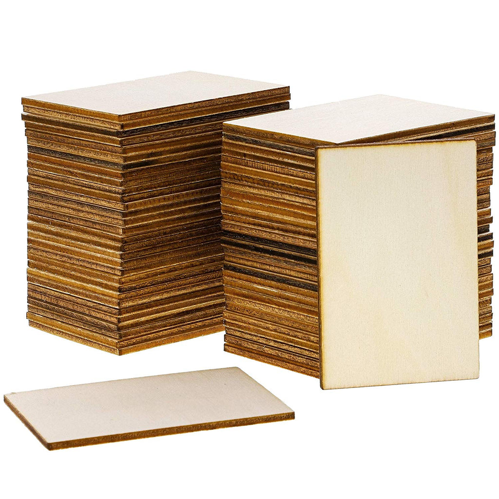 Wood Rectangles for Crafts, Unfinished Wooden Cutout Tile (2x3 in, 60 Pack)