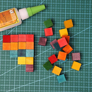 Blocks for Crafts, Colorful Wooden Cubes (6 Colors, 0.6 In, 100 Pieces)