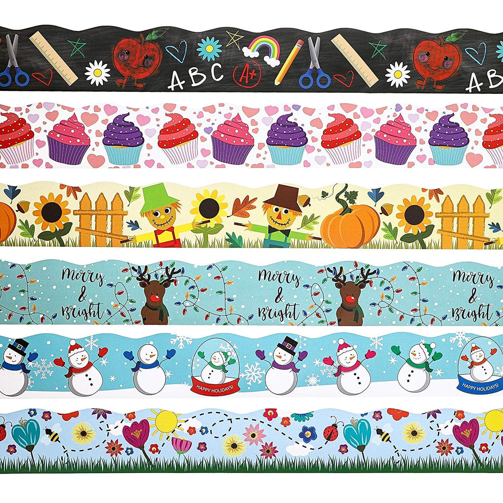 Juvale 6-Rolls Seasons and Holidays Bulletin Board Border Classroom Decoration, 6 Designs, 2 x 36 Inches