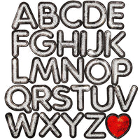 27pcs Iron On Alphabet Sequin Letter Patches A - Z Heart for Clothes Jeans DIY