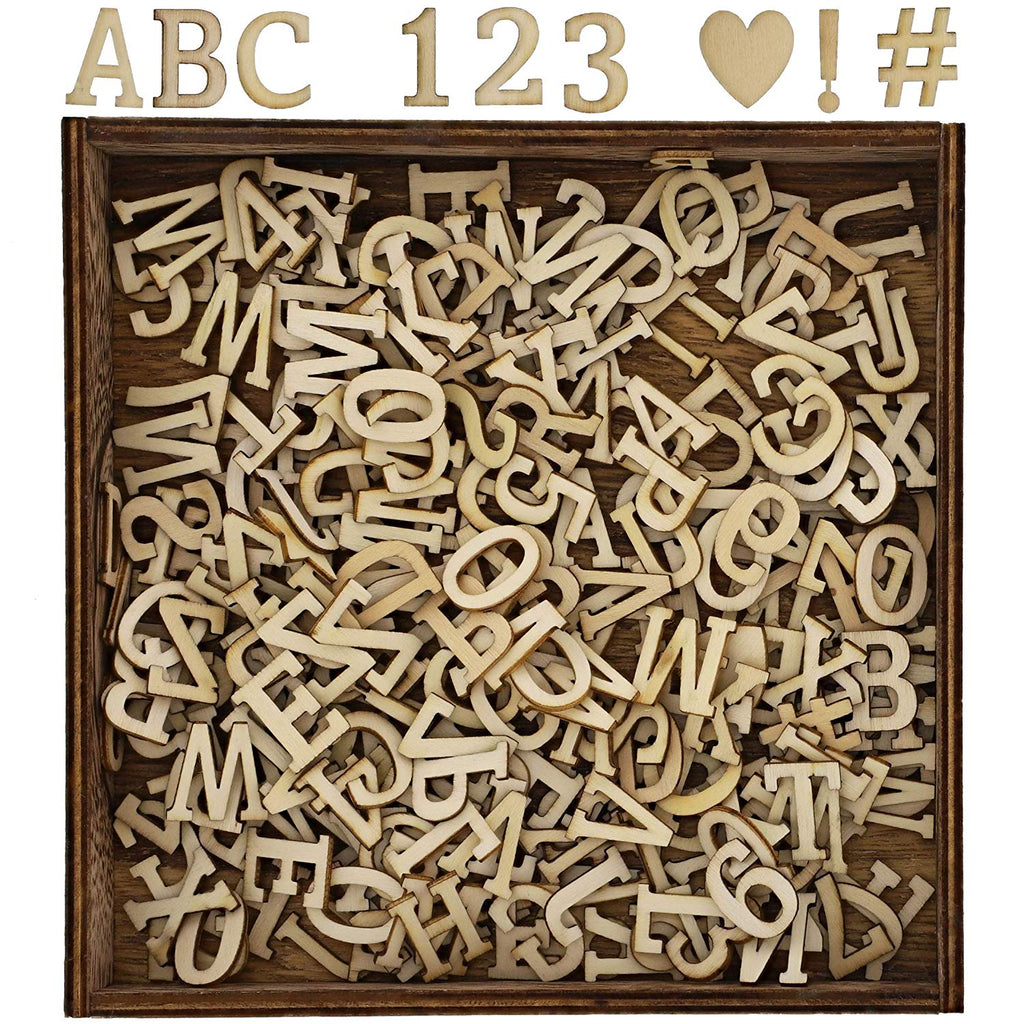 Bright Creations Craft Wood Alphabet Letter Cutouts, Numbers and Symbols Shadow Box Set