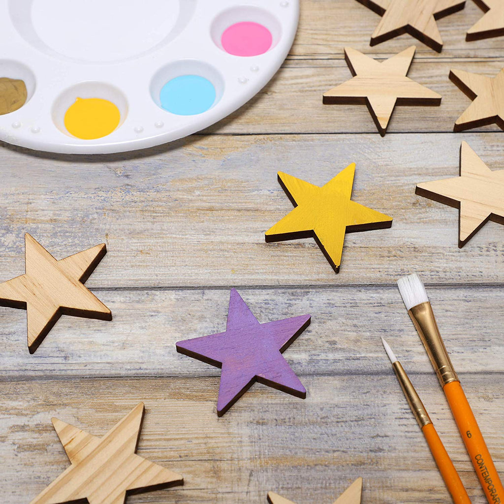 Bright Creations 50-Pack Unfinished Wood Star Cutout Pieces for DIY Crafts, 2 Inch