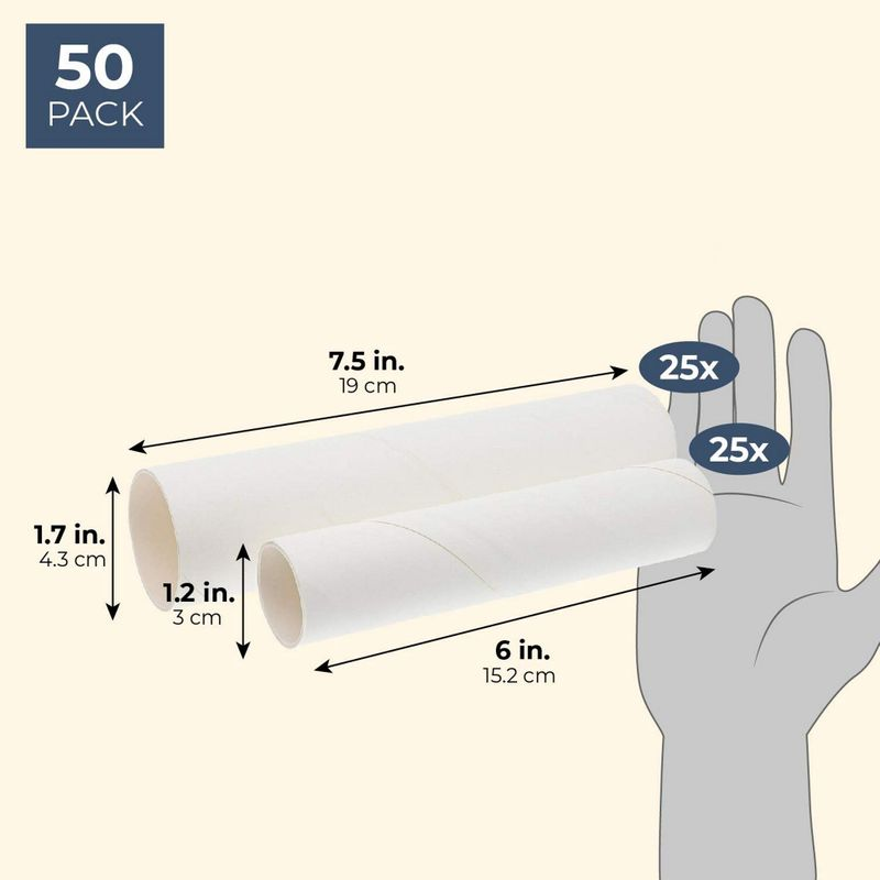 (50 Pack) White Paper Cardboard Craft Tube Rolls for Art Crafts DIY Projects
