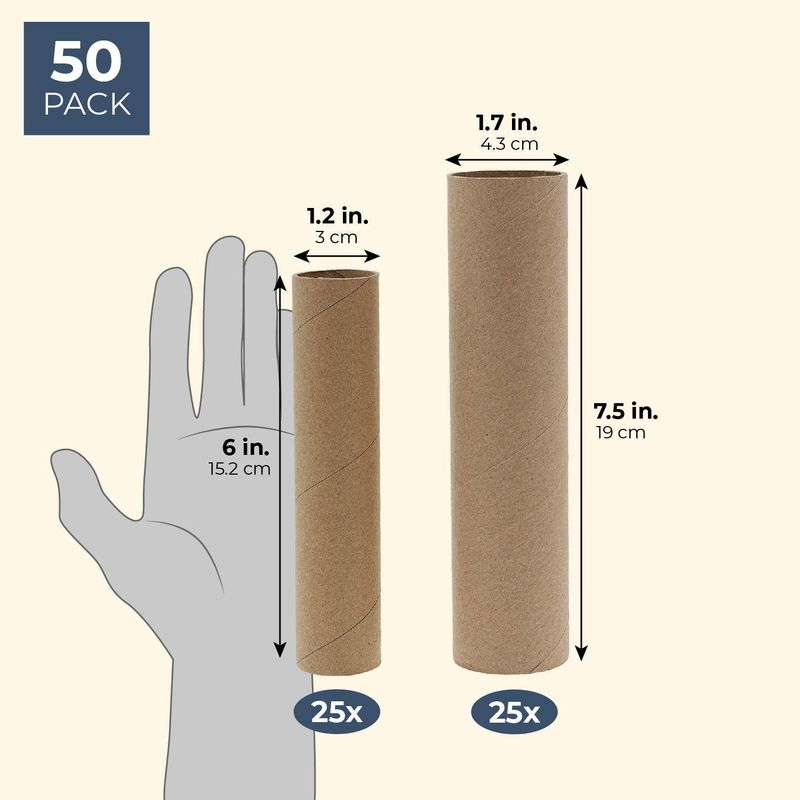 (50 Pack) Brown Paper Cardboard Craft Tube Rolls for Art Crafts DIY Projects