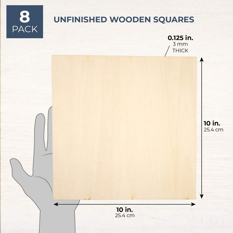 8 Pack Square Basswood Plywood Thin Sheets for Wood Burning, 10 Inches