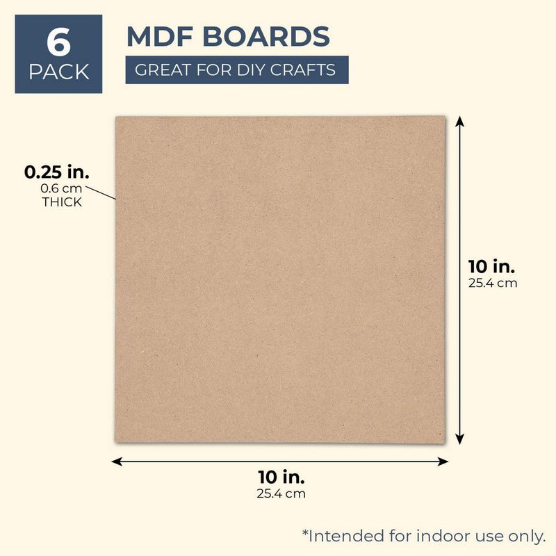 "6 Pack 10"" Square Fibreboard MDF Board Hardwood Board Wood Sheet Brown for Craft"