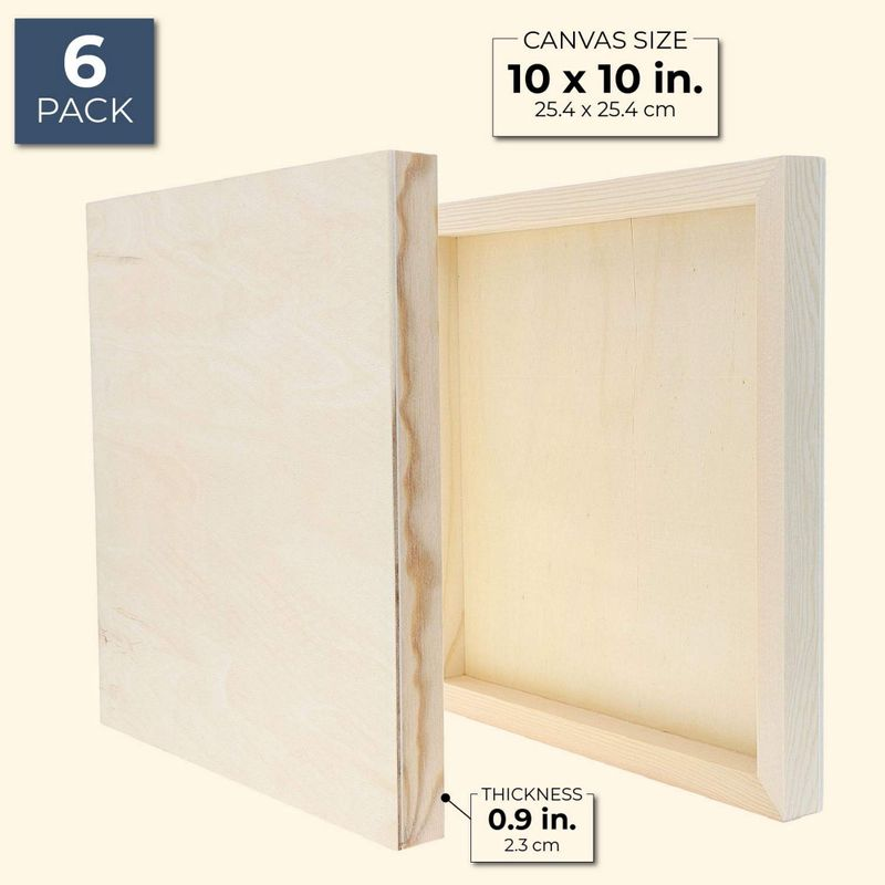 Bright Creations Wood Canvas Cradle Panel Paint Boards (6 Pack), 10 Inches
