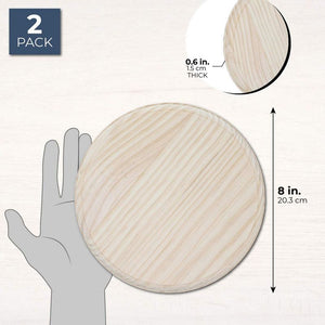 Bright Creations Unfinished Wood Round Plaques for DIY Crafts (2 Pack), 8 Inches