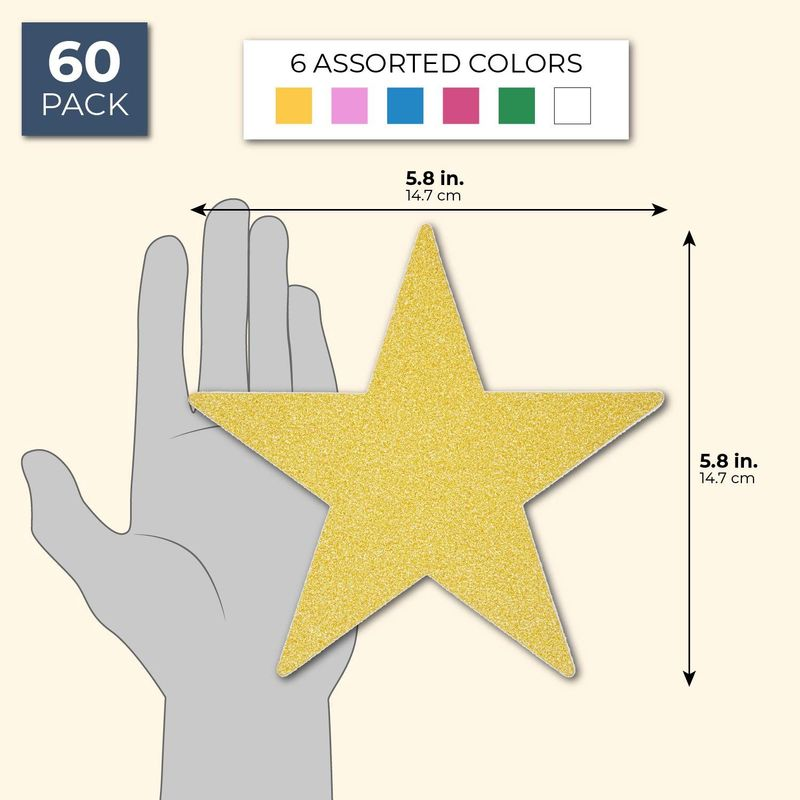 60 Count Paper Junkie Glitter Star Cutout 6 Colors for Bulletin Board DIY Craft