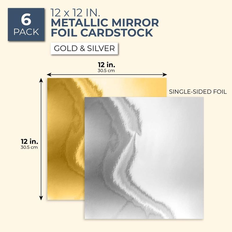 6 Sheets Metallic 12 Inch Mirror Square Cardstock For DIY Crafts, Gold, Silver
