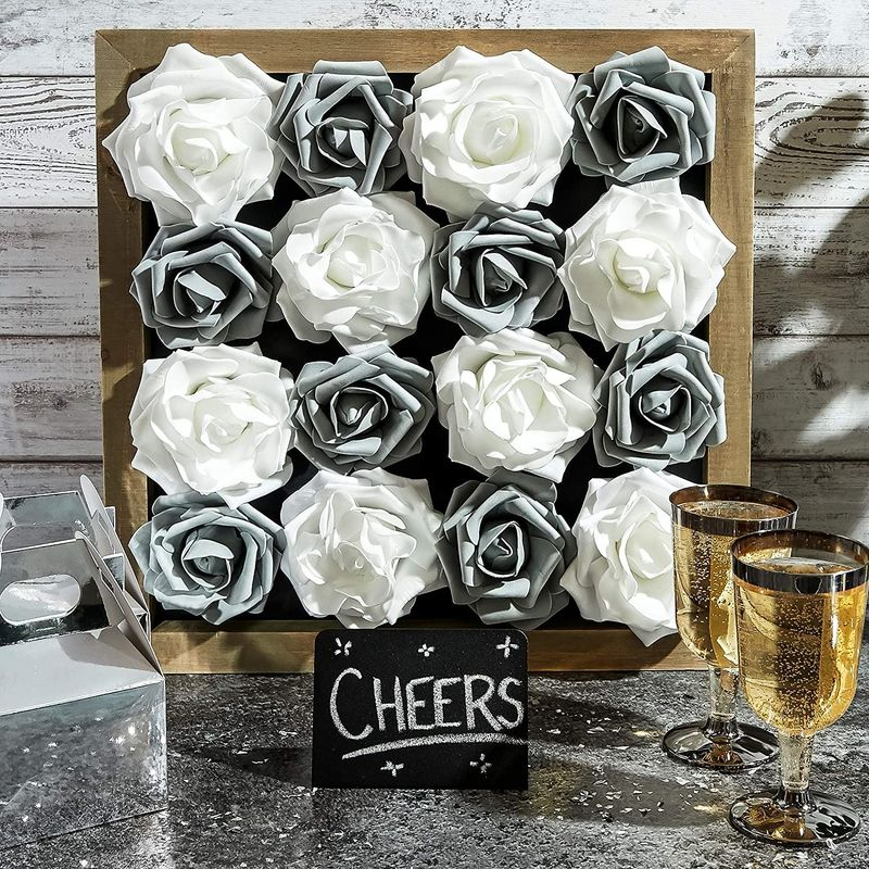 Rose Flower Heads, Artificial Flowers (Grey, 3 x 1.5 In, 100-Pack)