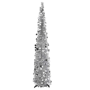 Bright Creations Tinsel Christmas Pencil Tree, 5 Feet, Silver