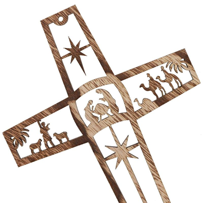 Bright Creations Wood Cross Nativity Scene Wall Decor (6 Pack)