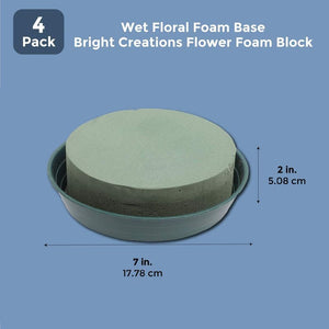 4 Pack 7 In Wet Floral Flower Foam Base for Crafts Fresh Flowers Decorations