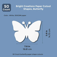 50x Paper Cutout Shapes, Butterfly Die Cuts for Kids Crafts, 7.5 x 6 Inch, White