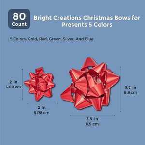 Bright Creations Christmas Bows for Presents (80 Count) 5 Colors