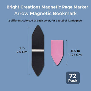 72 Mini Magnetic Bookmarks Get-to-the-point Arrow Pointer Page Marker Paper Clip