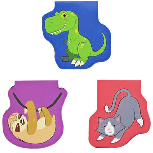 50 Pack Magnetic Bookmarks for Kids, Cute Animals, 10 Designs, 1.7 x 1.7 inches