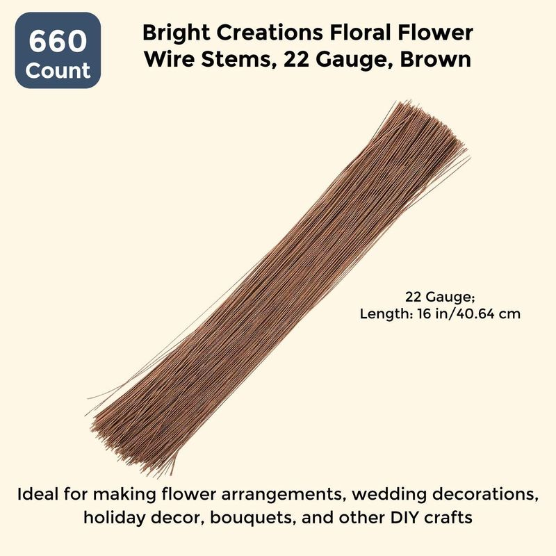 Bright Creations Floral Flower Wire Stems (660 Count) 22 Gauge, 16 Inch, Brown