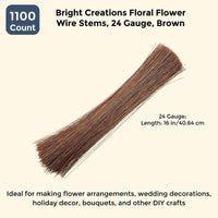 1100x Floral Flower Wire Stems Wrapped 24 Gauge for DIY Crafts Wedding Brown 16""