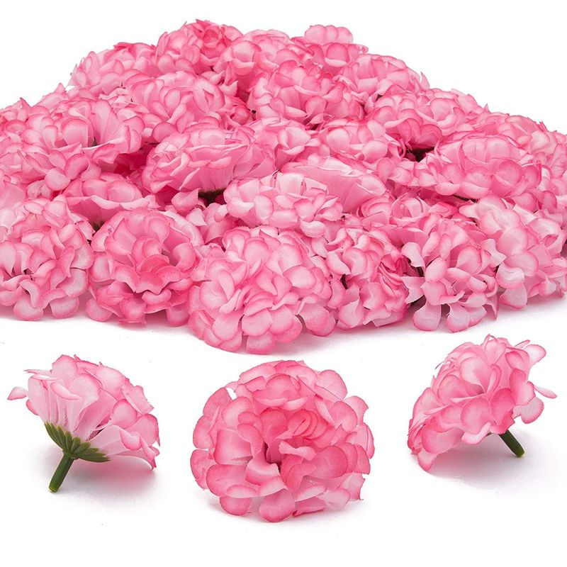 Bright Creations Mini Artificial Hydrangea Flower Heads (60 Count) Pink, 1.5 Inches