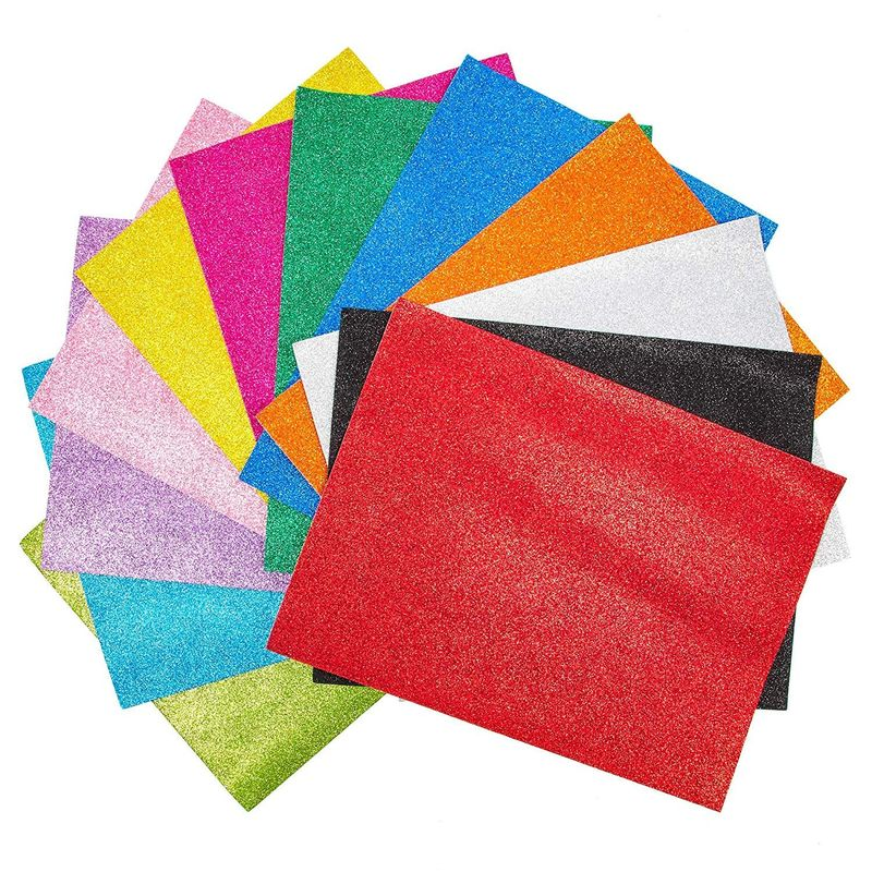 Bright Creations Eva Glitter Foam Sheets (9 x 12 in, Pack of 48)