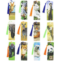 72x Cute Wildlift Real Photos Bookmarks with Tassel 6x2 in, for Animal Lovers