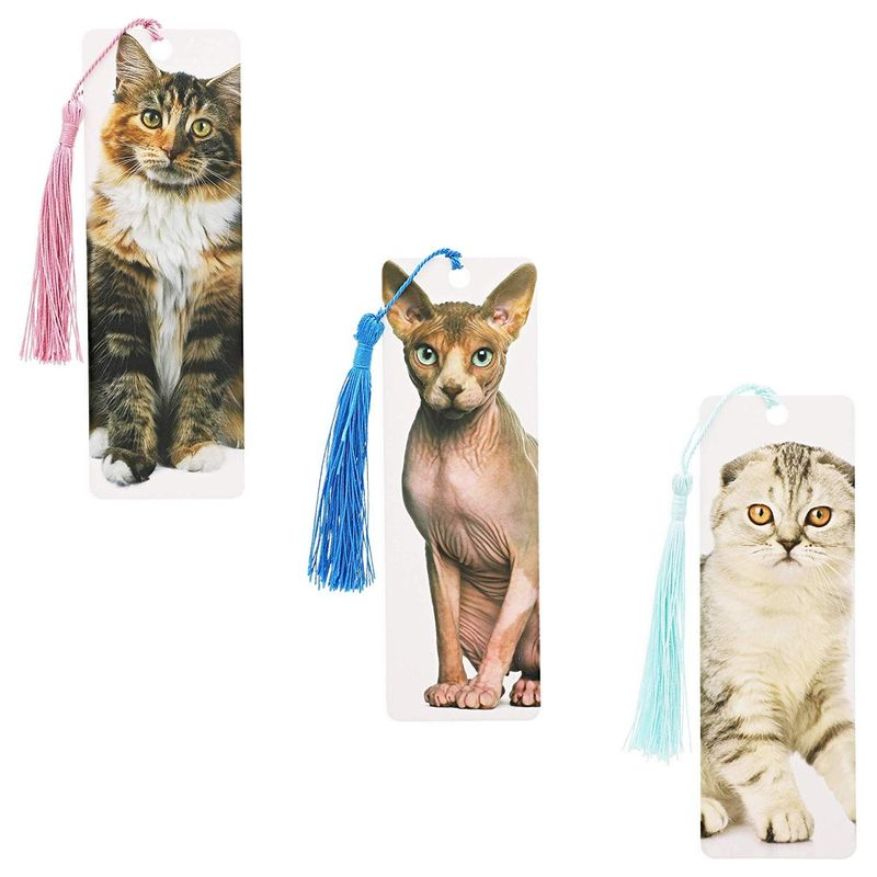 72x Cute Cat Real Photos Printed Bookmarks with Tassel 6x2 in, for Cat Lovers