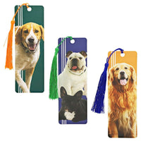 72x Cute Dog Real Photos Printed Bookmarks with Tassel 6x2 in, for Dog Lovers