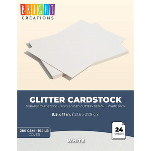 Bright Creations Glitter Cardstock Paper 24 Pack - DIY Glitter Craft Paper White - 11 x 8.5 inches