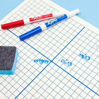 12x Dry Erase XY Axis Graph Lap Board with Erasers Double Sided White 11.8x8.9""