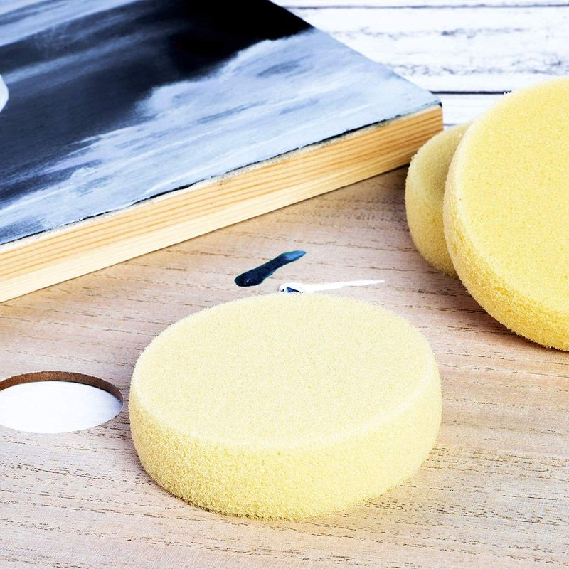 Round Synthetic Sponges for Painting  Crafts (3.5 x 1 in, Light Yellow, 20 Pack)