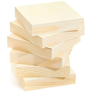 "6 Pack 4""x4"" Unfinished Square Wood Paint Pouring Panel Boards for Art Craft"