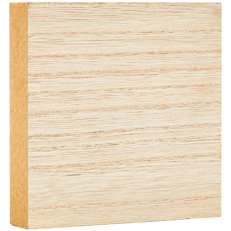 4-Pack 5x5x1 Inches Unfinished MDF Wood Block Smooth Surface for Crafts and DIY