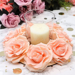 6x Floral Craft Rings Frames for Weddings Candles Table Decoration DIY Props 9""