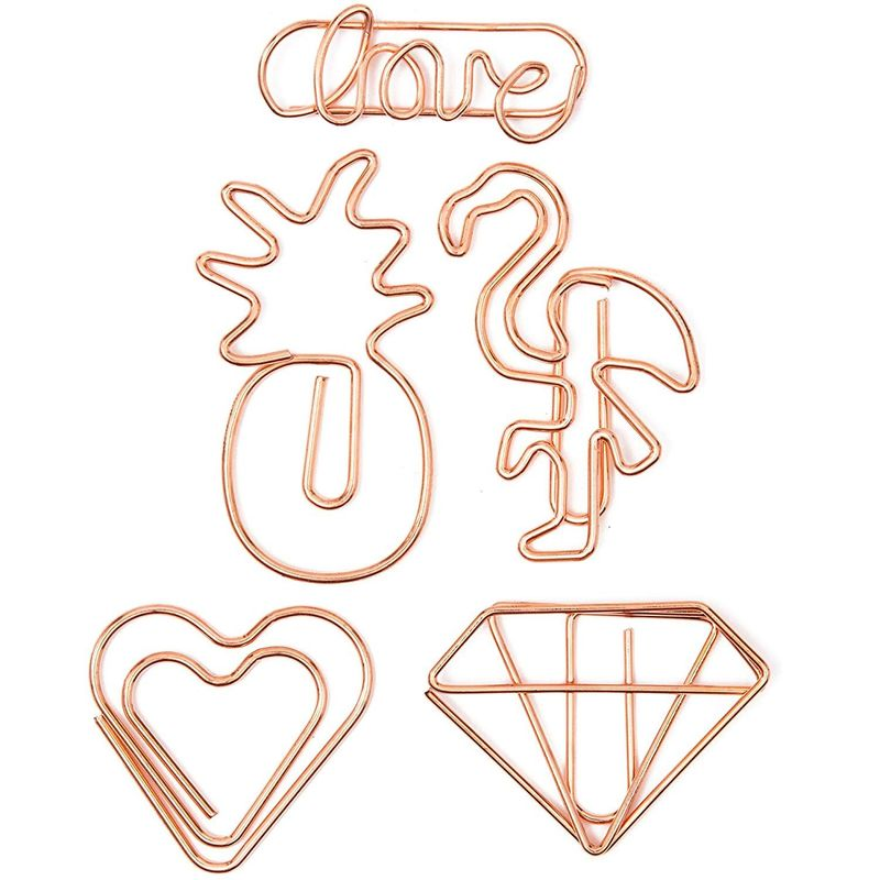Cute Paper Clip Bookmarks (Rose Gold, 50 Pieces)