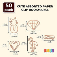 50Pack Rose Gold Cute Binder Paper File Clips Clamps Gift for Kids Students