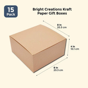 Bright Creations Kraft Paper Gift Boxes (15 Pack) 8 x 8 x 4 Inches