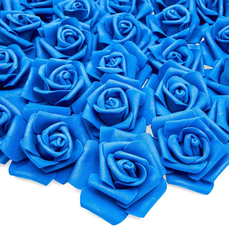 Bright Creations Artificial Roses Flowers Heads for Decorations (Navy Blue, 100 Pack)
